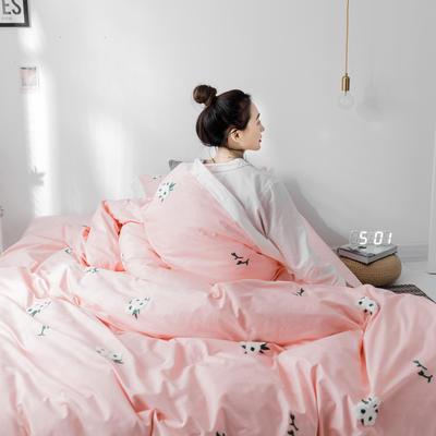 【春夏新款】全棉系列四件套-雏菊,麋鹿,仙人掌 1.2m(4英尺)床三件套 雏菊粉