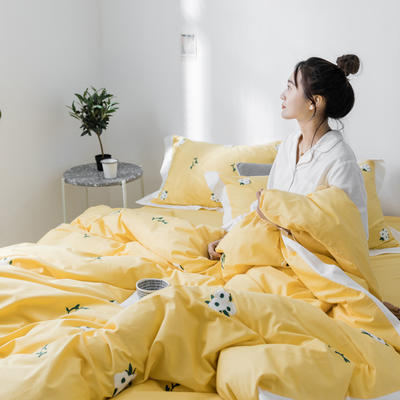 【春夏新款】全棉系列四件套-雏菊,麋鹿,仙人掌 1.2m(4英尺)床三件套 雏菊黄