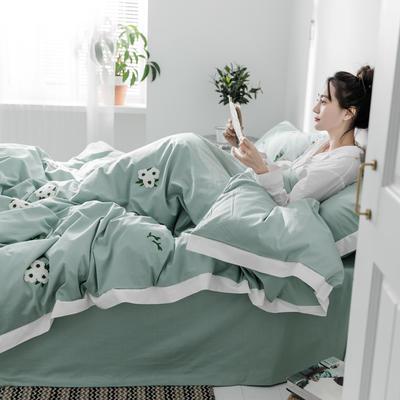 【春夏新款】全棉系列四件套-雏菊,麋鹿,仙人掌 1.2m(4英尺)床三件套 雏菊绿