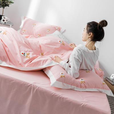 【春夏新款】全棉系列四件套-雏菊,麋鹿,仙人掌 1.2m(4英尺)床三件套 麋鹿粉