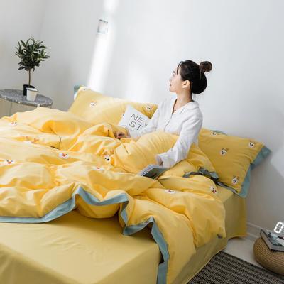 【春夏新款】全棉系列四件套-雏菊,麋鹿,仙人掌 1.2m(4英尺)床三件套 麋鹿黄