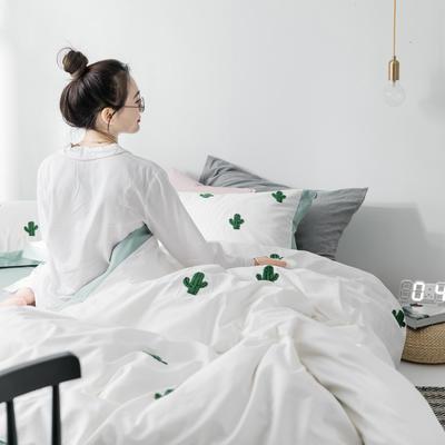 【春夏新款】全棉系列四件套-雏菊,麋鹿,仙人掌 1.2m(4英尺)床三件套 仙人掌白
