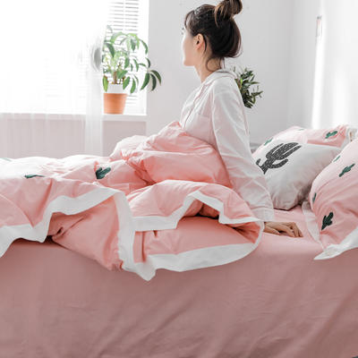 【春夏新款】全棉系列四件套-雏菊,麋鹿,仙人掌 1.2m(4英尺)床三件套 仙人掌粉
