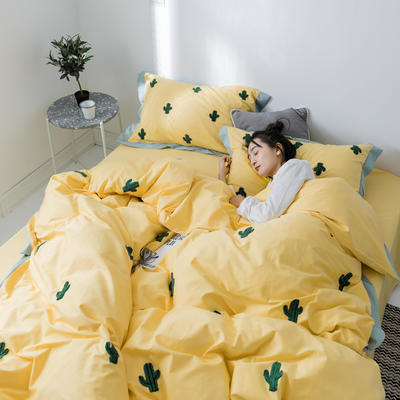 【春夏新款】全棉系列四件套-雏菊,麋鹿,仙人掌 1.2m(4英尺)床三件套 仙人掌黄