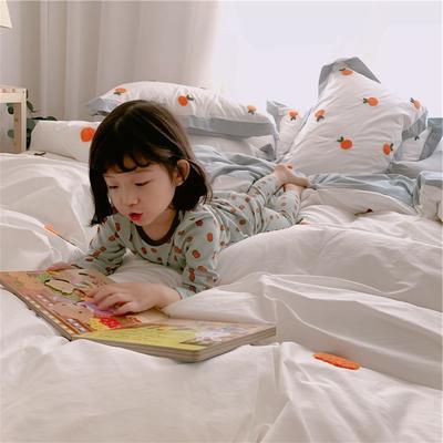 【春夏新款】全棉系列四件套-桔子,桃子 1.2m(4英尺)床三件套 桔子-白色
