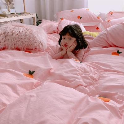【春夏新款】全棉系列四件套-桔子,桃子 1.2m(4英尺)床三件套 桔子-粉色