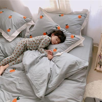 【春夏新款】全棉系列四件套-桔子,桃子 1.2m(4英尺)床三件套 桔子-绿色