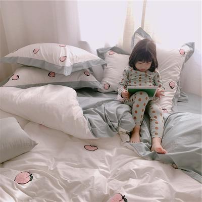 【春夏新款】全棉系列四件套-桔子,桃子 1.2m(4英尺)床三件套 桃子-白色