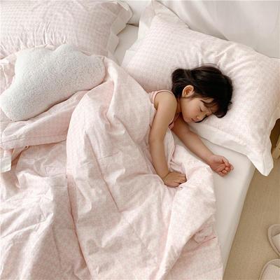 【夏被】全棉小清新 枕套/对 千鸟格-粉