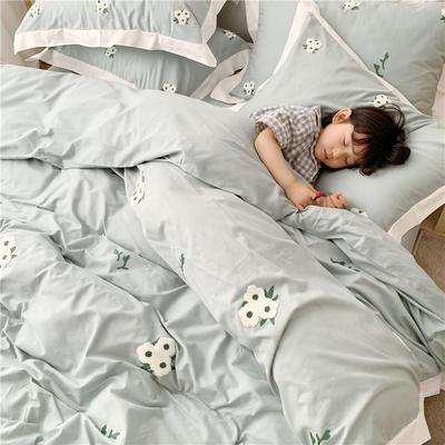 2019纯棉贡缎毛巾绣儿童模特款 1.2m床三件套 雏菊绿色