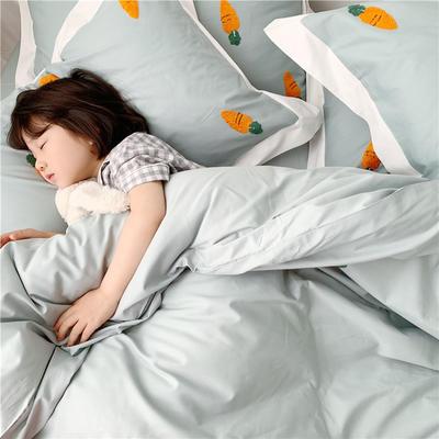 2019纯棉贡缎毛巾绣儿童模特款 1.2m床三件套 胡萝卜绿色