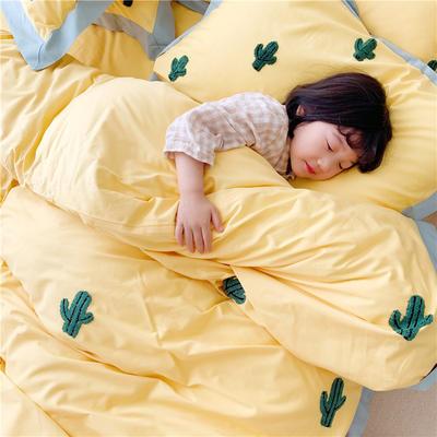 2019纯棉贡缎毛巾绣儿童模特款 1.2m床三件套 仙人掌黄色