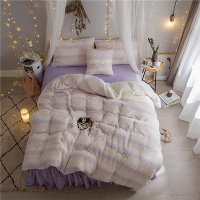 2019新款【韩版美丽绒】软绵绵美丽绒四件套 1.2m床单款三件套 粉白紫