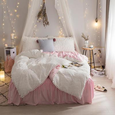 2019新款【皮草绒宝宝绒】皮草绒云朵泡泡 1.2m床裙款三件套 白色