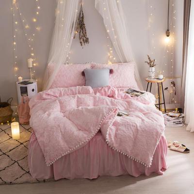 2019新款【皮草绒宝宝绒】皮草绒云朵泡泡 1.2m床裙款三件套 粉色