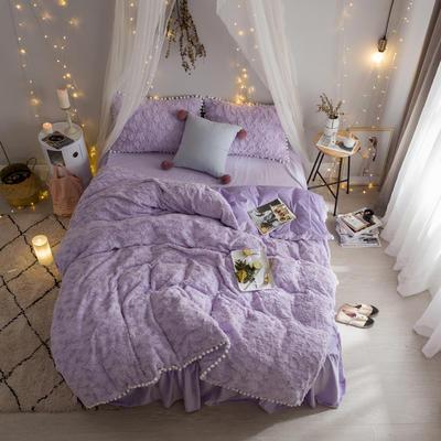 2019新款【皮草绒宝宝绒】皮草绒云朵泡泡 1.2m床裙款三件套 紫色