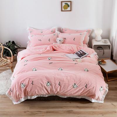 2019新款臻棉绒毛巾绣四件套-雏菊,仙人掌,麋鹿 1.2m床单款三件套 雏菊粉色