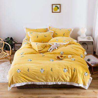 2019新款臻棉绒毛巾绣四件套-雏菊,仙人掌,麋鹿 1.2m床单款三件套 雏菊黄色