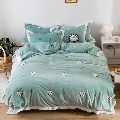 2019新款臻棉绒毛巾绣四件套-雏菊,仙人掌,麋鹿 1.2m床单款三件套 雏菊绿色