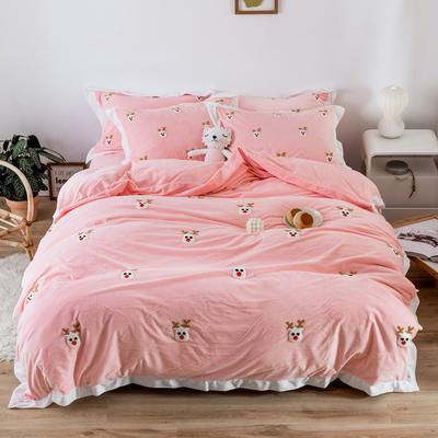 2019新款臻棉绒毛巾绣四件套-雏菊,仙人掌,麋鹿 1.2m床单款三件套 麋鹿粉色