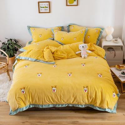 2019新款臻棉绒毛巾绣四件套-雏菊,仙人掌,麋鹿 1.2m床单款三件套 麋鹿黄色