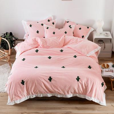 2019新款臻棉绒毛巾绣四件套-雏菊,仙人掌,麋鹿 1.2m床单款三件套 仙人掌粉色