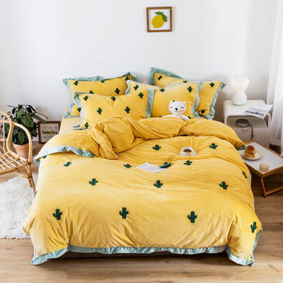 2019新款臻棉绒毛巾绣四件套-雏菊,仙人掌,麋鹿 1.2m床单款三件套 仙人掌黄色