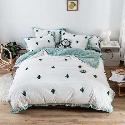 2019新款臻棉绒毛巾绣四件套-雏菊,仙人掌,麋鹿 1.2m床单款三件套 仙人掌绿色