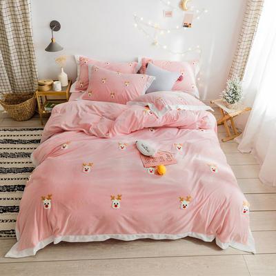 2019新款臻棉绒毛巾绣-小雏菊,仙人掌,麋鹿 1.2m床单款三件套 麋鹿粉色