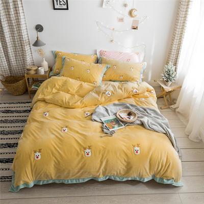 2019新款臻棉绒毛巾绣-小雏菊,仙人掌,麋鹿 1.2m床单款三件套 麋鹿黄色
