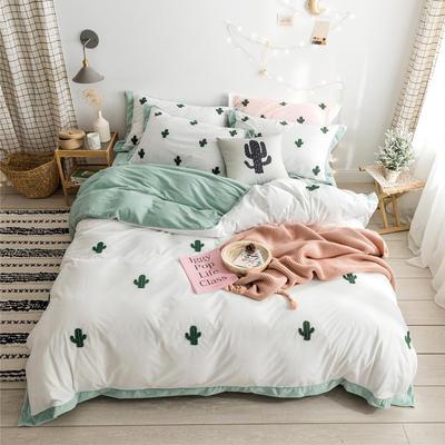 2019新款臻棉绒毛巾绣-小雏菊,仙人掌,麋鹿 1.2m床单款三件套 仙人掌白色