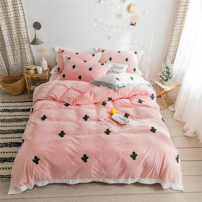 2019新款臻棉绒毛巾绣-小雏菊,仙人掌,麋鹿 1.2m床单款三件套 仙人掌粉色
