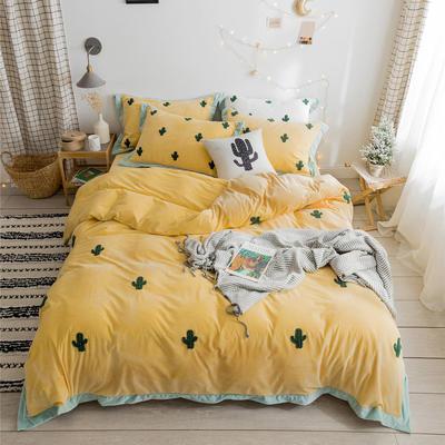 2019新款臻棉绒毛巾绣-小雏菊,仙人掌,麋鹿 1.2m床单款三件套 仙人掌黄色
