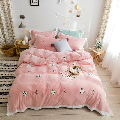 2019新款臻棉绒毛巾绣-小雏菊,仙人掌,麋鹿 1.2m床单款三件套 小雏菊粉色