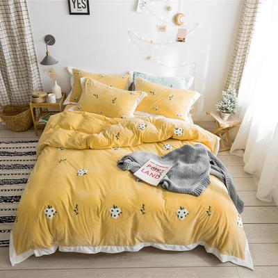 2019新款臻棉绒毛巾绣-小雏菊,仙人掌,麋鹿 1.2m床单款三件套 小雏菊黄色