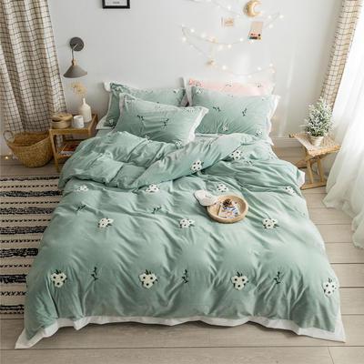 2019新款臻棉绒毛巾绣-小雏菊,仙人掌,麋鹿 1.2m床单款三件套 小雏菊绿色