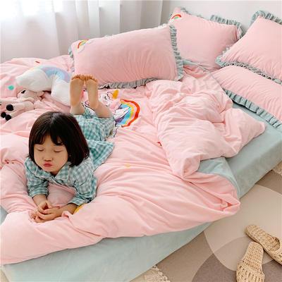 2019新款臻棉绒四件套-【绒】独角兽 1.2m床单款三件套 粉色