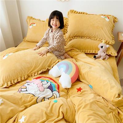2019新款臻棉绒四件套-【绒】独角兽 1.2m床单款三件套 黄色