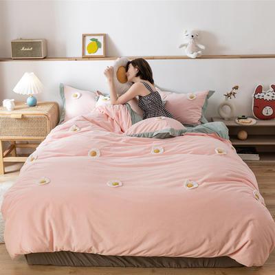 2019新款臻棉绒四件套-【绒】荷包蛋 1.2m床单款三件套 荷包蛋粉色