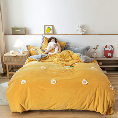 2019新款臻棉绒四件套-【绒】荷包蛋 1.2m床单款三件套 荷包蛋黄色