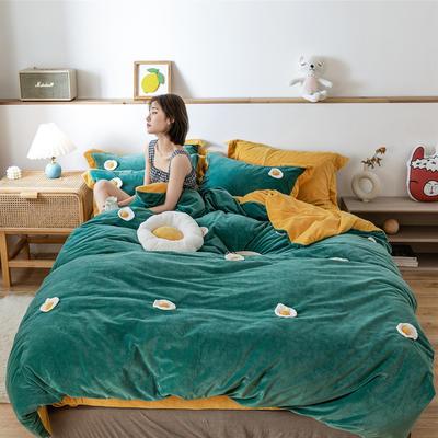 2019新款臻棉绒四件套-【绒】荷包蛋 1.2m床单款三件套 荷包蛋绿色