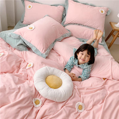 2019新款臻棉绒四件套-【绒】荷包蛋 1.2m床单款三件套 粉色