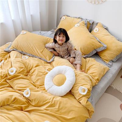 2019新款臻棉绒四件套-【绒】荷包蛋 1.2m床单款三件套 黄色