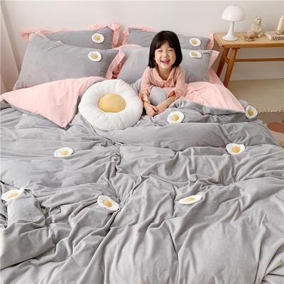 2019新款臻棉绒四件套-【绒】荷包蛋 1.2m床单款三件套 灰色