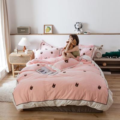 2019新款臻棉绒四件套-【绒】小鳄鱼,羊驼 抱枕/个含芯 羊驼粉色
