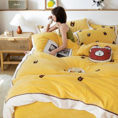 2019新款臻棉绒四件套-【绒】小鳄鱼,羊驼 抱枕/个含芯 羊驼黄色