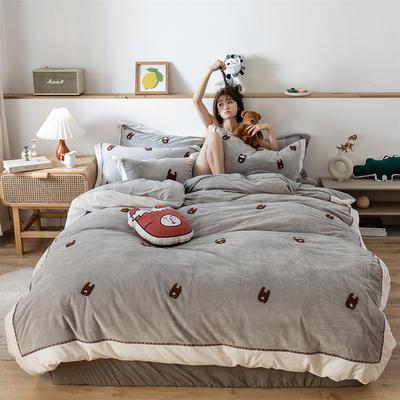 2019新款臻棉绒四件套-【绒】小鳄鱼,羊驼 抱枕/个含芯 羊驼灰色