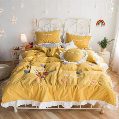 2020春夏新品全棉色织水洗棉四件套 1.2m床单款三件套 泫雅风爱心黄色