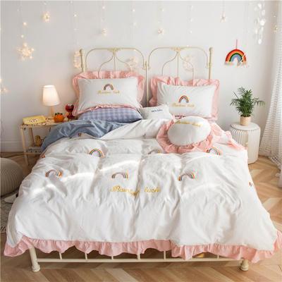 2020春夏新品全棉色织水洗棉四件套 1.2m床单款三件套 泫雅风彩虹白色