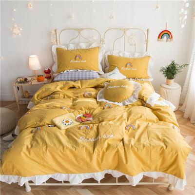 2020春夏新品全棉色织水洗棉四件套 1.2m床单款三件套 泫雅风彩虹黄色